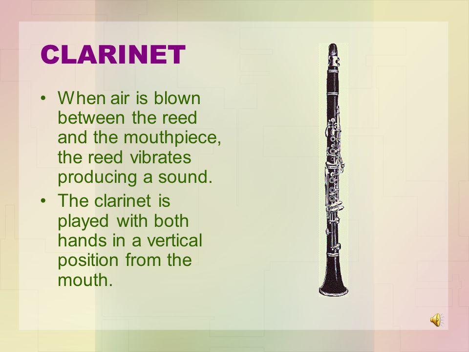 CLARINET When air is blown between the reed and the mouthpiece, the reed vibrates producing a sound.
