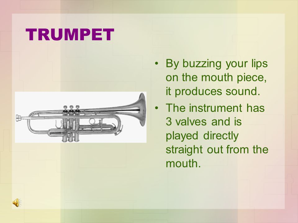 TRUMPET By buzzing your lips on the mouth piece, it produces sound.