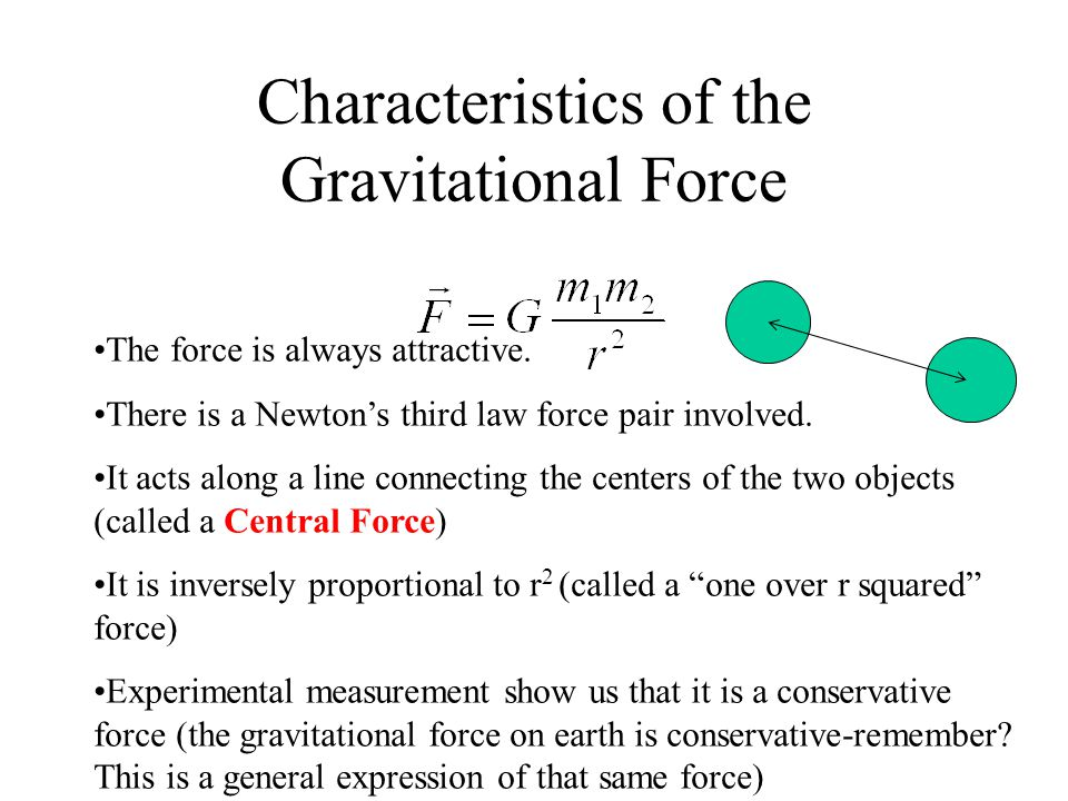 Characteristics of the Gravitational Force