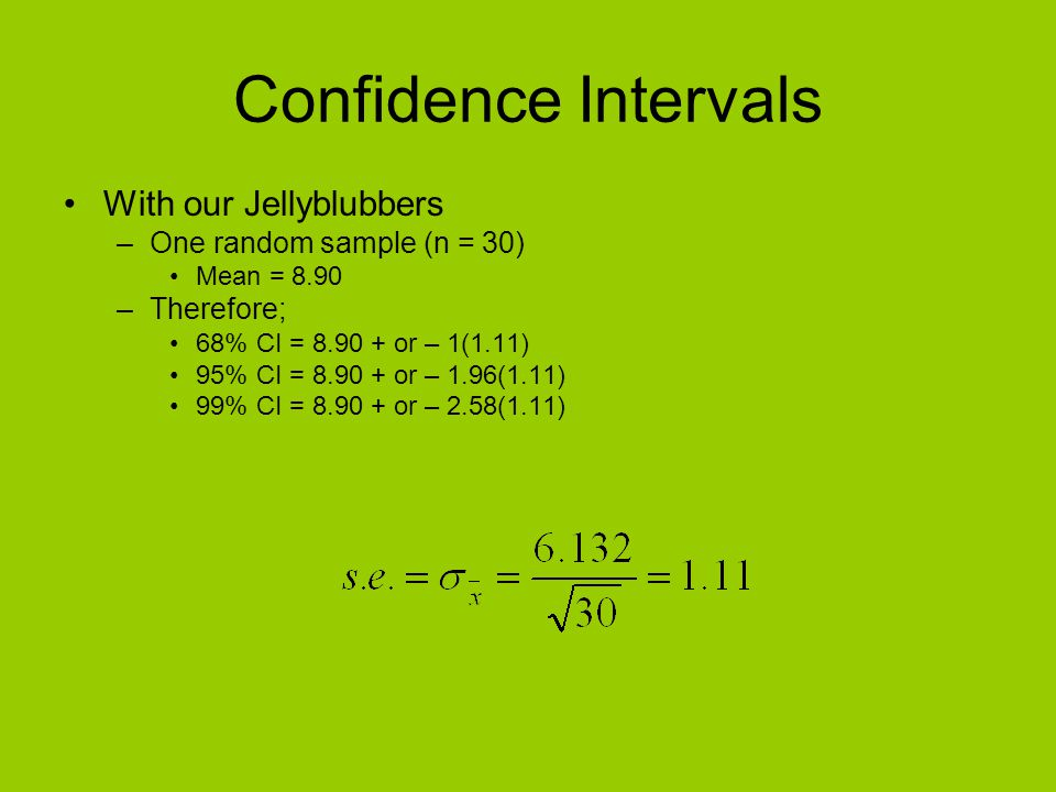 Confidence Intervals With our Jellyblubbers One random sample (n = 30)