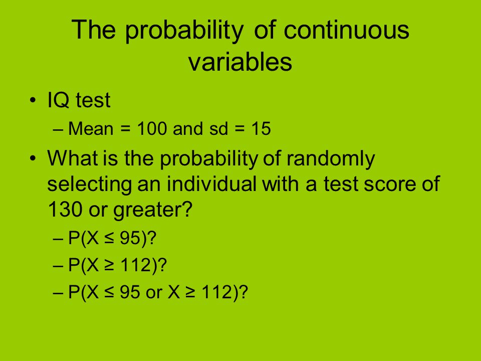The probability of continuous variables