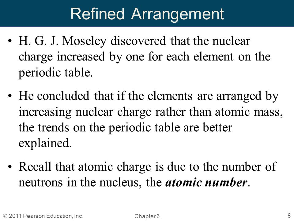 Chapter 6 the periodic table by christopher hamaker ppt video refined arrangement h g j moseley discovered that the nuclear charge increased by one for each element on urtaz Images