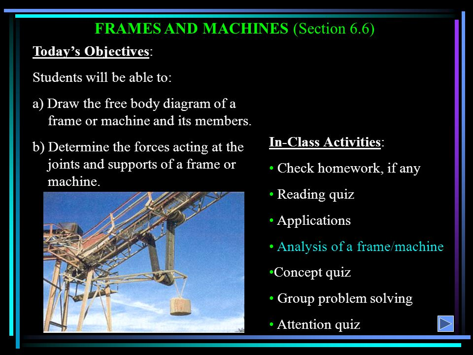 FRAMES AND MACHINES (Section 6.6)