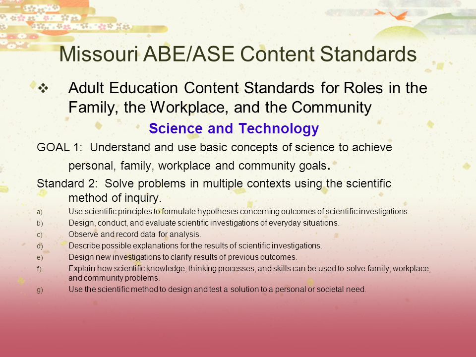 Missouri ABE/ASE Content Standards