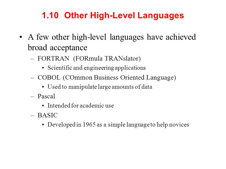 1.10 Other High-Level Languages