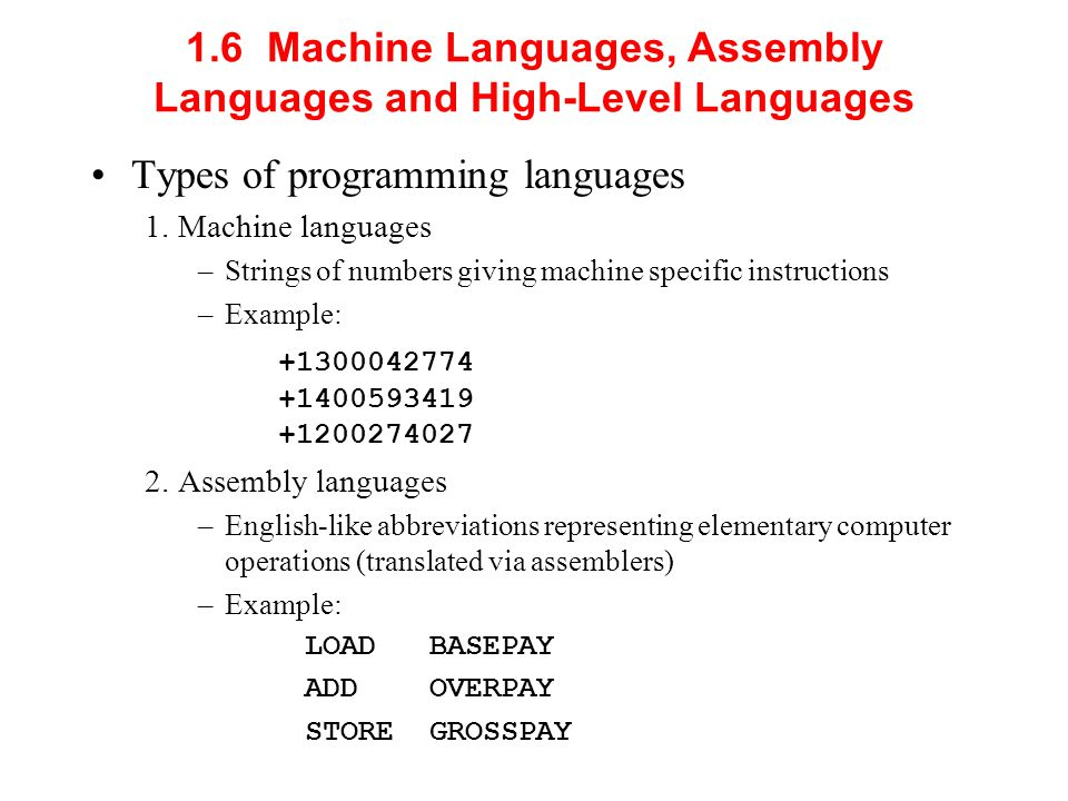 1.6 Machine Languages, Assembly Languages and High-Level Languages