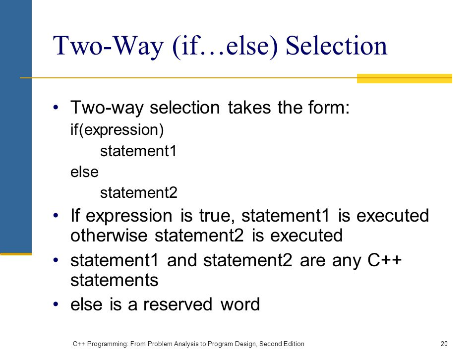 Two-Way (if…else) Selection