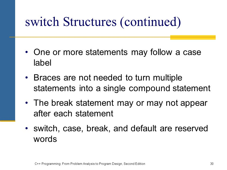 switch Structures (continued)