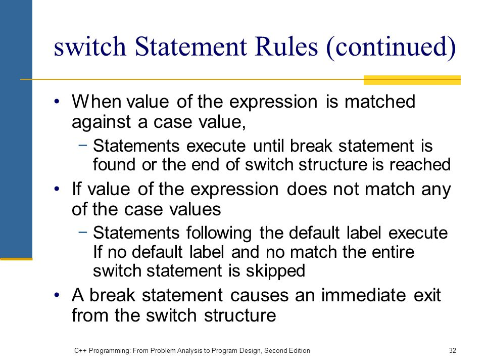 switch Statement Rules (continued)