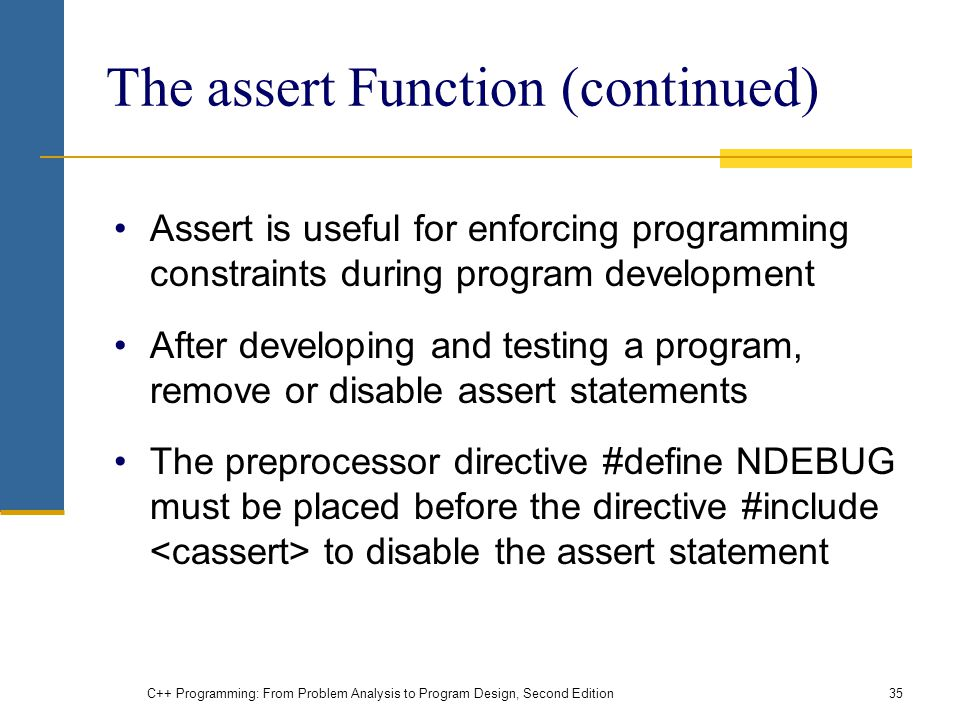 The assert Function (continued)