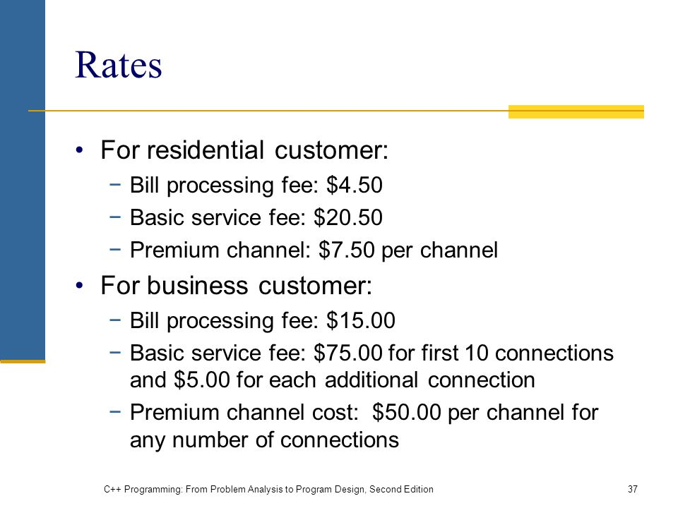Rates For residential customer: For business customer: