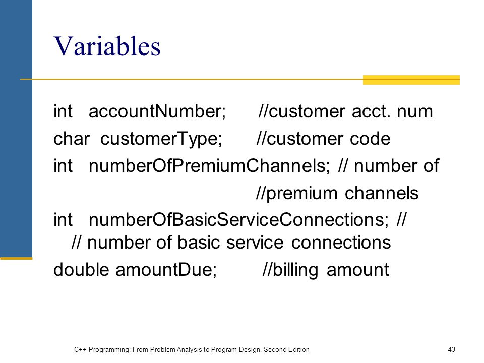 Variables int accountNumber; //customer acct. num