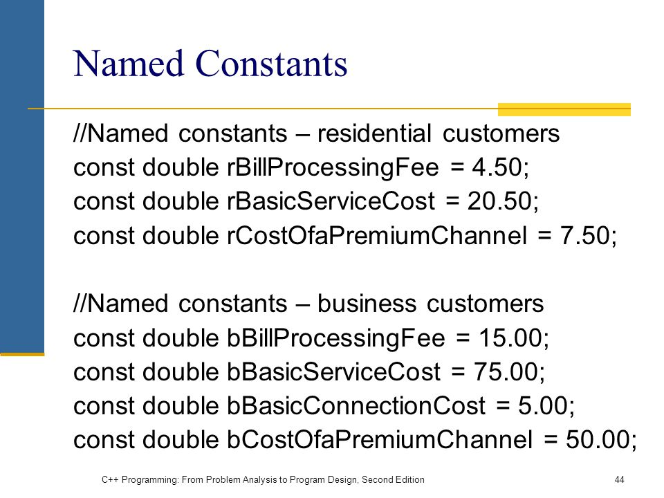 Named Constants //Named constants – residential customers