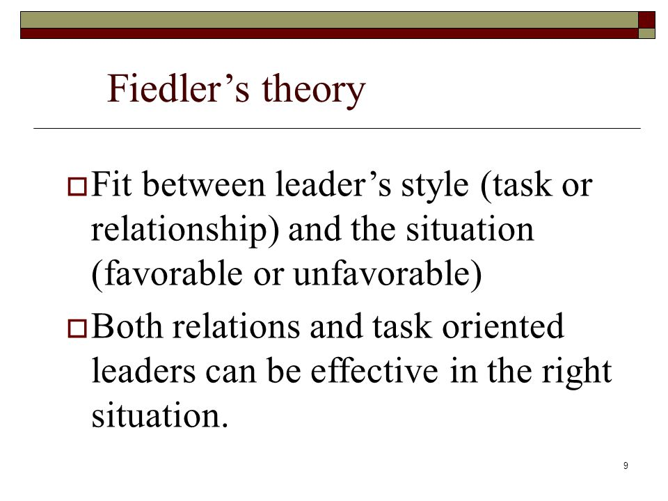 Fiedler's theory Fit between leader's style (task or relationship) and the situation (favorable or unfavorable)