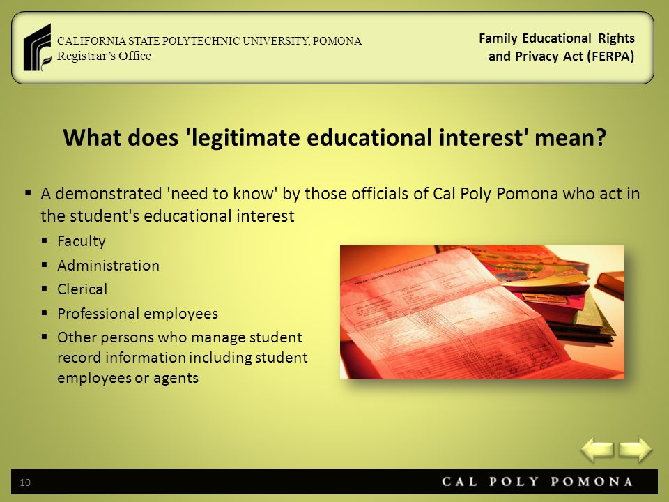 What does legitimate educational interest mean