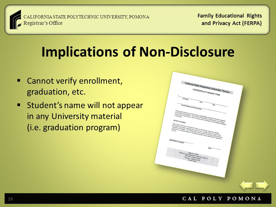Implications of Non-Disclosure