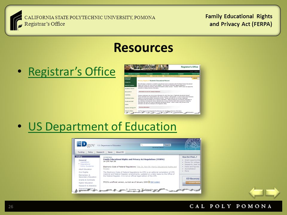 Resources Registrar's Office US Department of Education