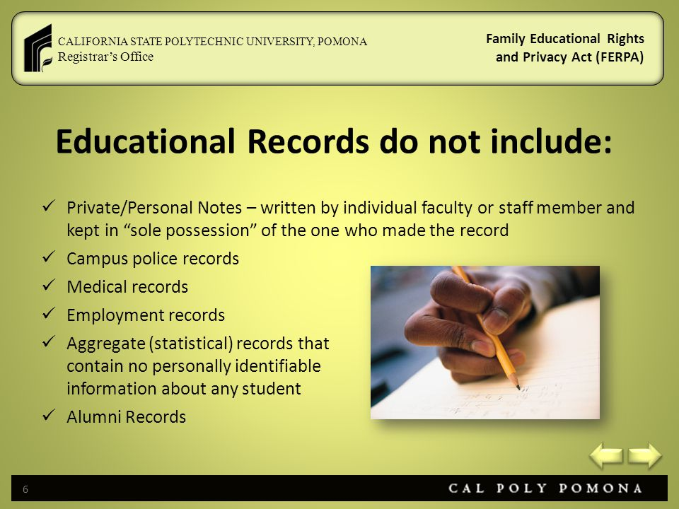 Educational Records do not include: