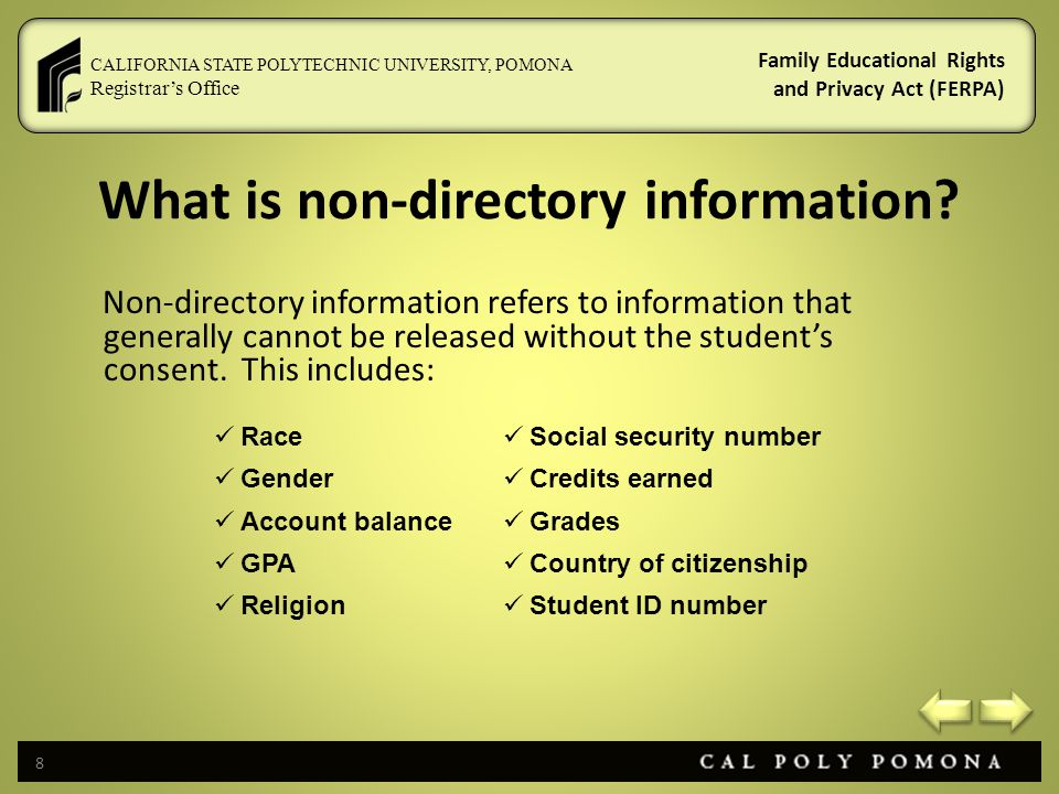 What is non-directory information