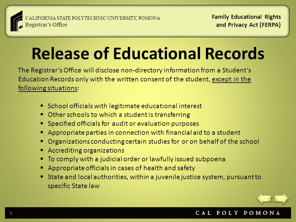 Release of Educational Records
