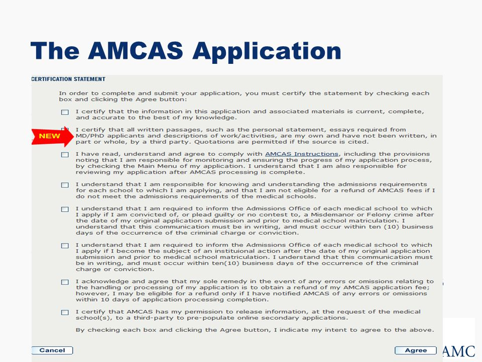 the amcas application submission certification revised