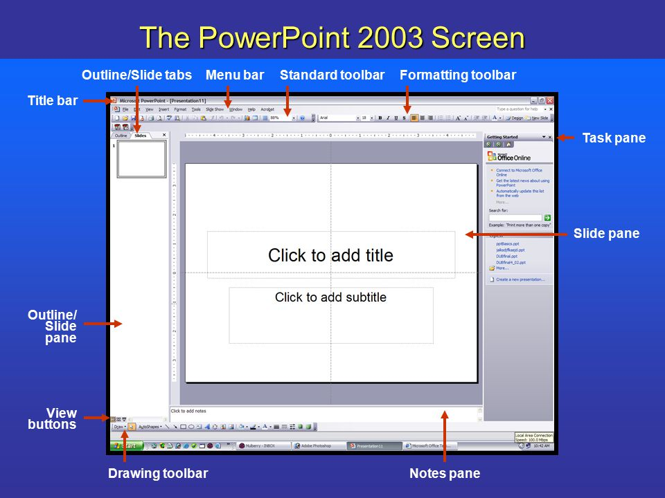 Powerpoint slide master and transitions powerpoint ppt download the powerpoint 2003 screen outlineslide tabs menu bar toneelgroepblik Images