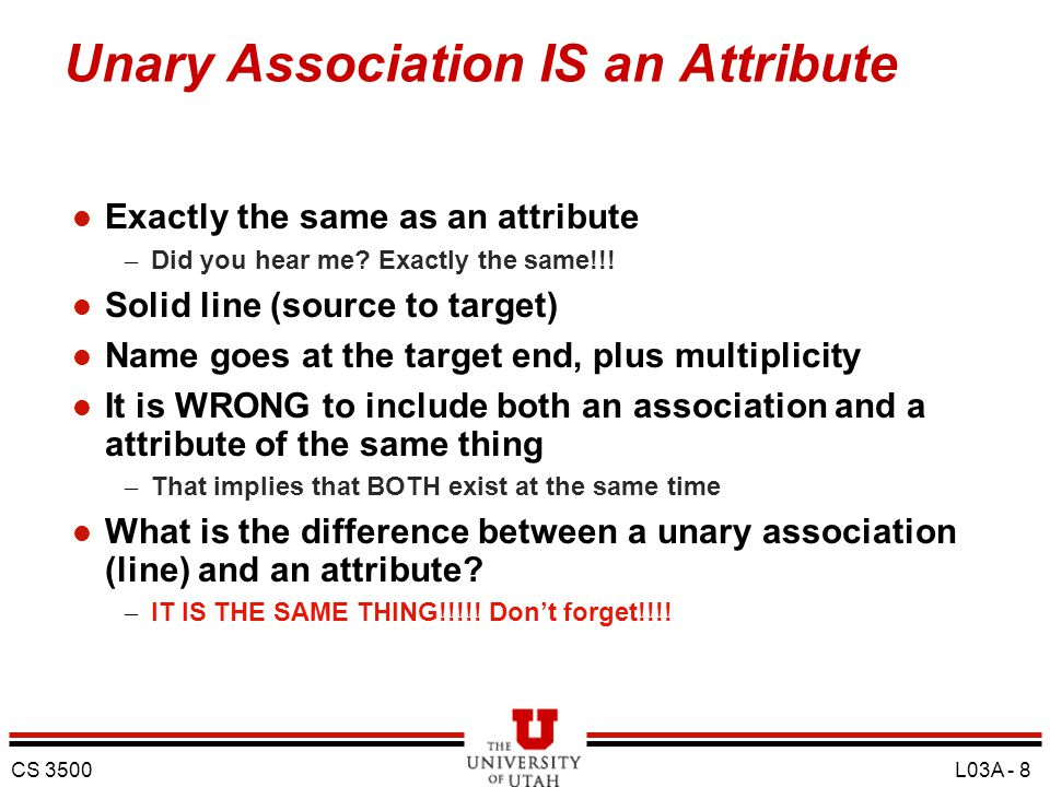Unary Association IS an Attribute