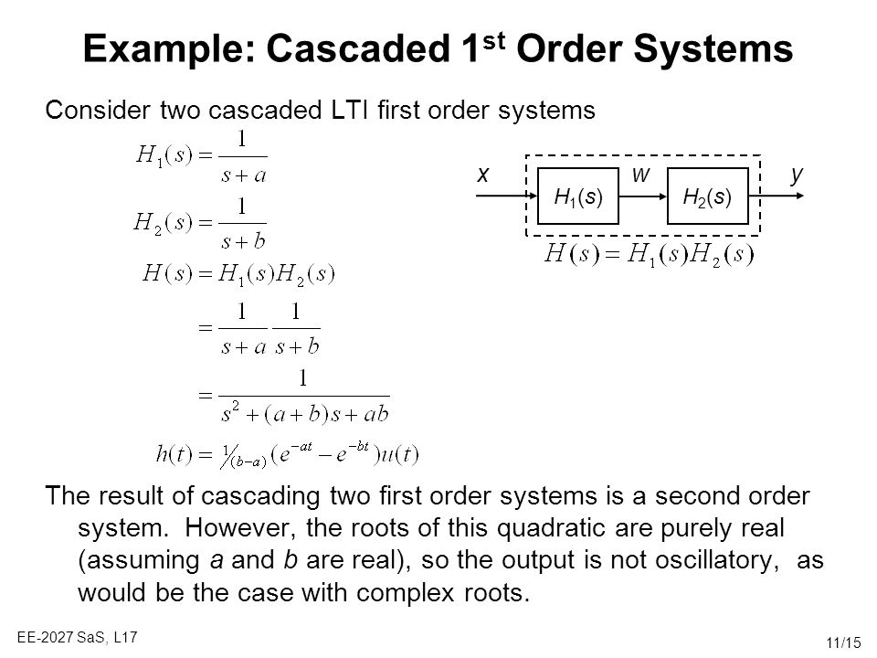 Example: Cascaded 1st Order Systems