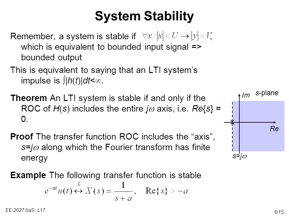 System Stability Remember, a system is stable if , which is equivalent to bounded input signal => bounded output.