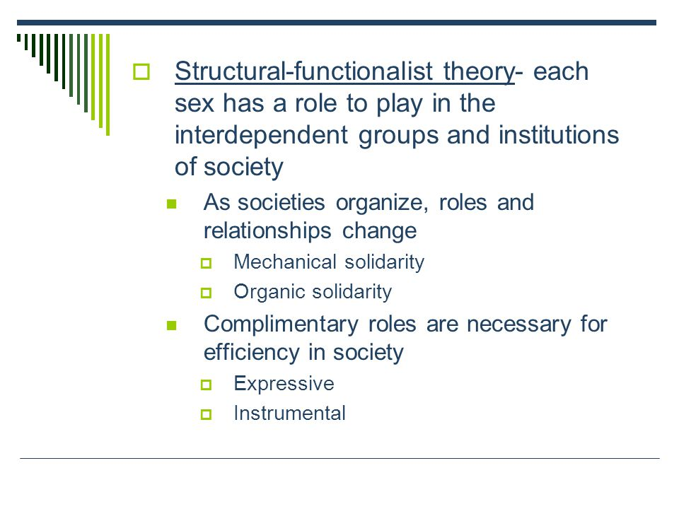 Structural-functionalist theory- each sex has a role to play in the  interdependent groups