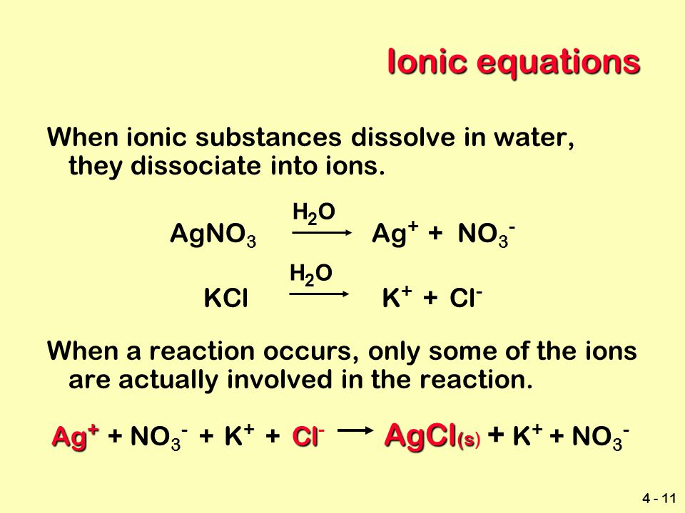 Ionic equations When ionic substances dissolve in water, they dissociate into ions. AgNO3 Ag+ + NO3-