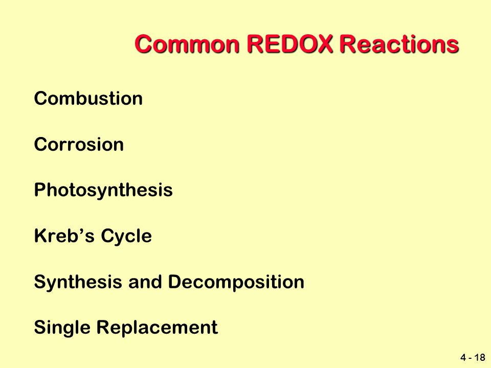 Common REDOX Reactions