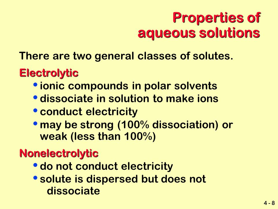 Properties of aqueous solutions