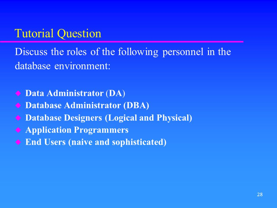 Tutorial Question Discuss the roles of the following personnel in the