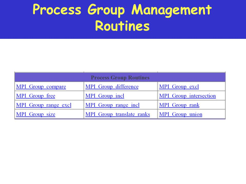 Process Group Management Routines