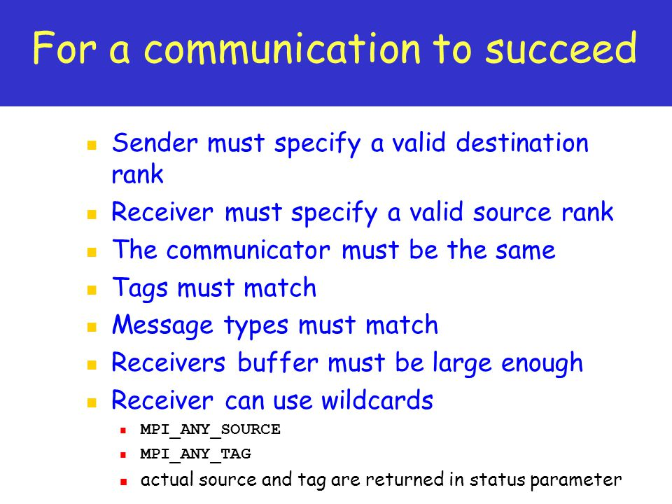 For a communication to succeed