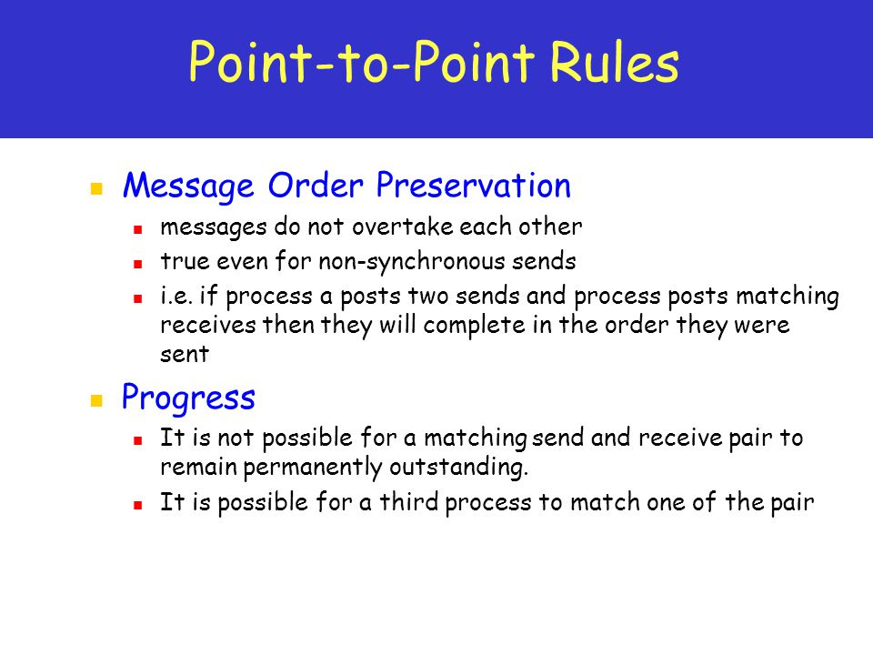Point-to-Point Rules Message Order Preservation Progress