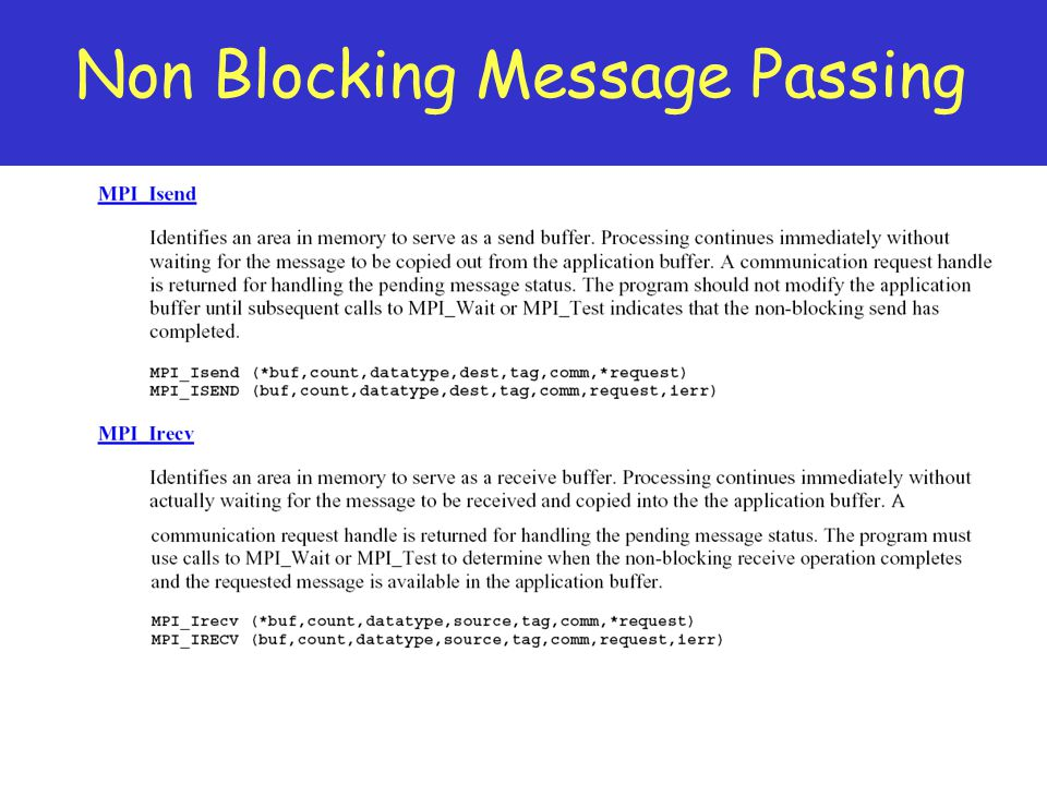 Non Blocking Message Passing