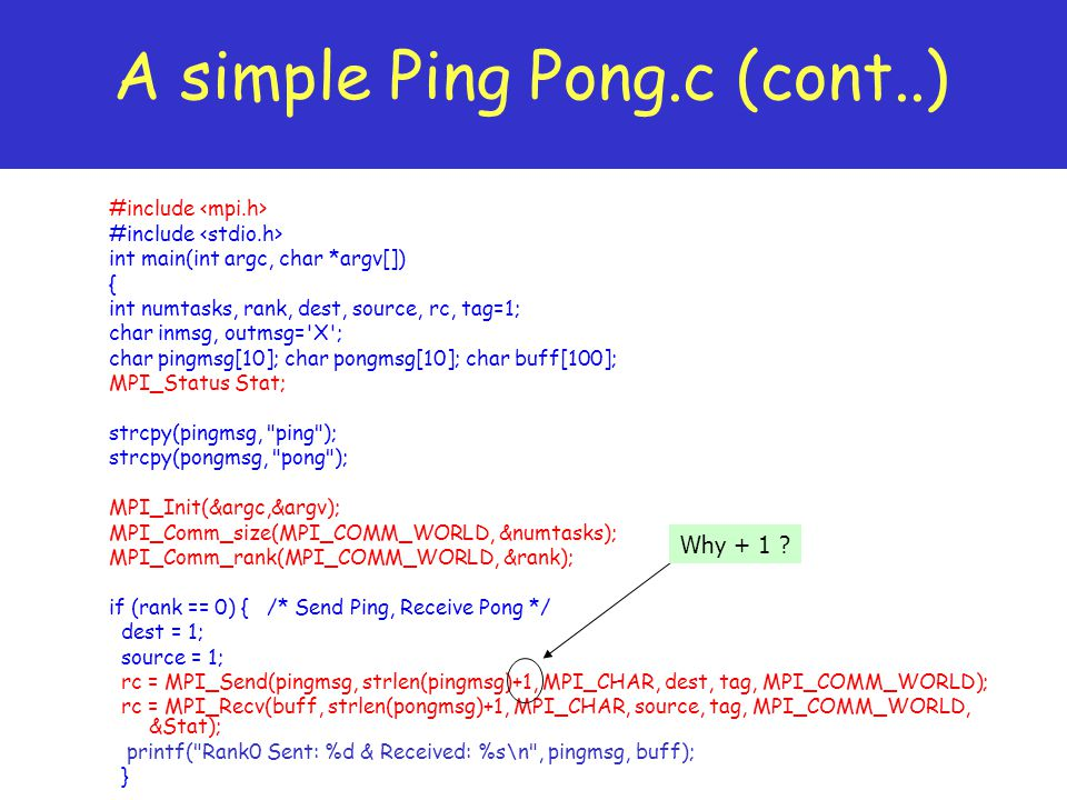 A simple Ping Pong.c (cont..)