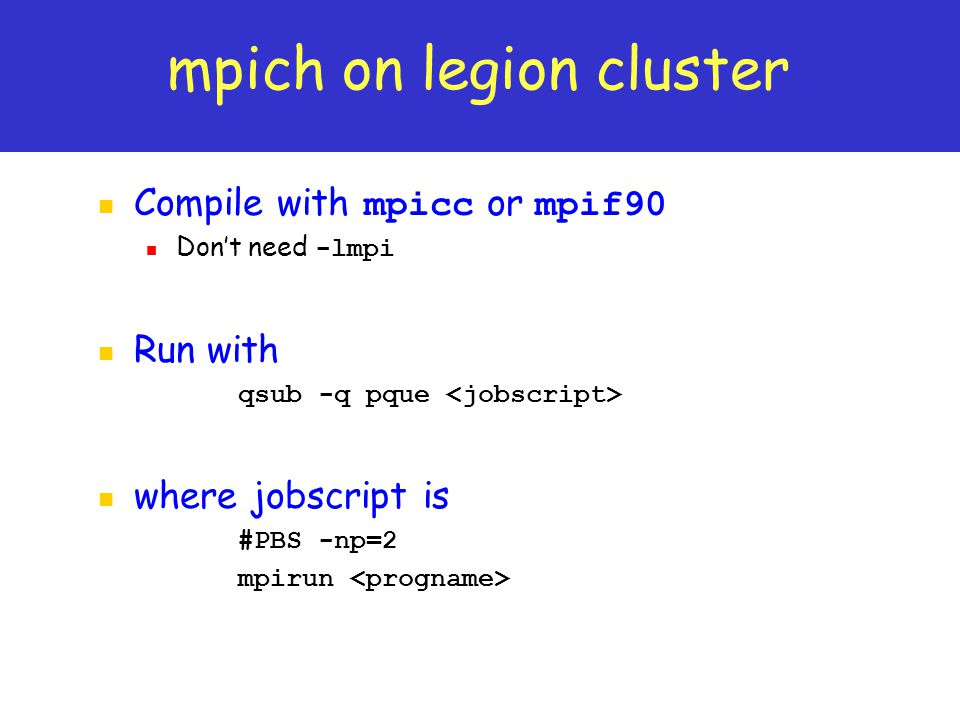 mpich on legion cluster