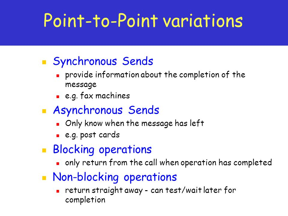 Point-to-Point variations