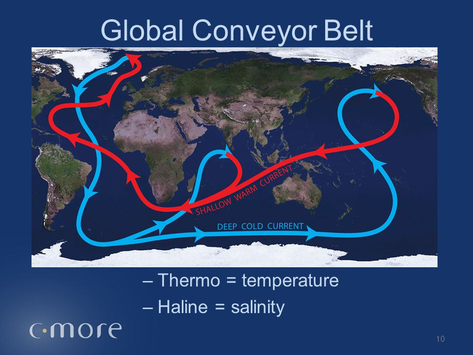 Global Conveyor Belt Thermohaline Circulation Thermo = temperature