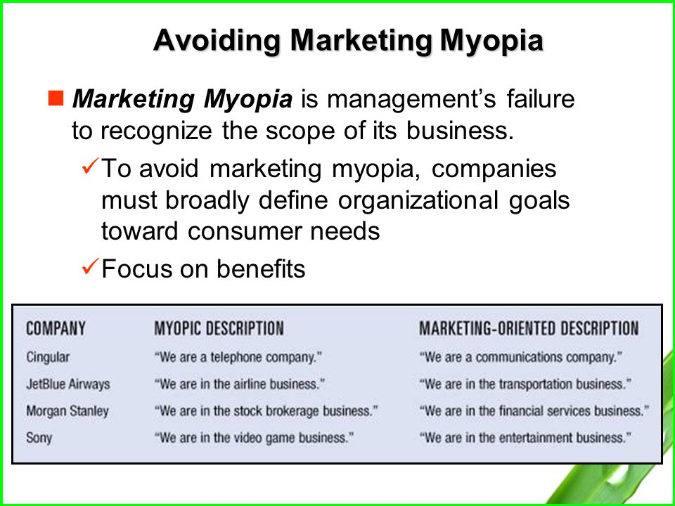 summary of marketing myopia In order to find out, 208 marketing research students were asked to read levitt's marketing myopia and write extended introspective essays on their reactions to the immortal article approximately half the sample were in employment and the remainder were full-time students.