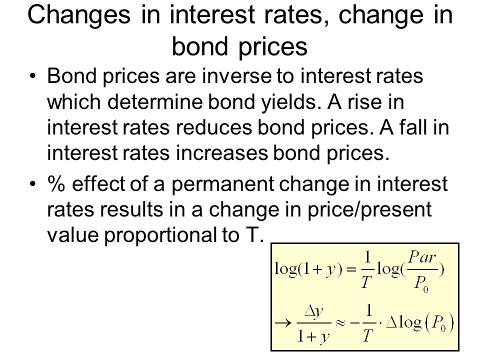 Changes in interest rates, change in bond prices