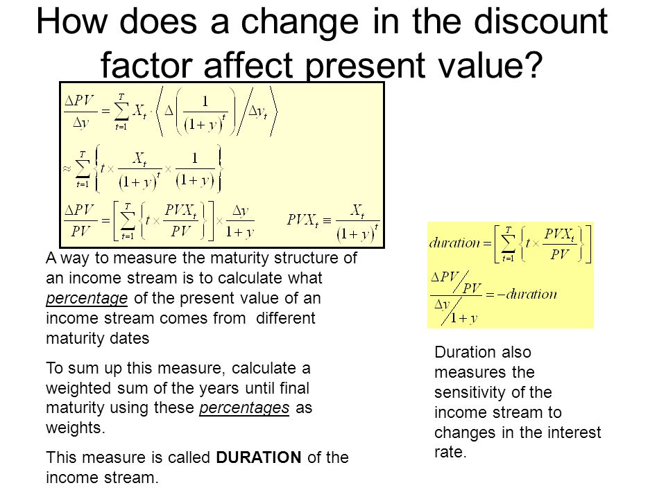 How does a change in the discount factor affect present value