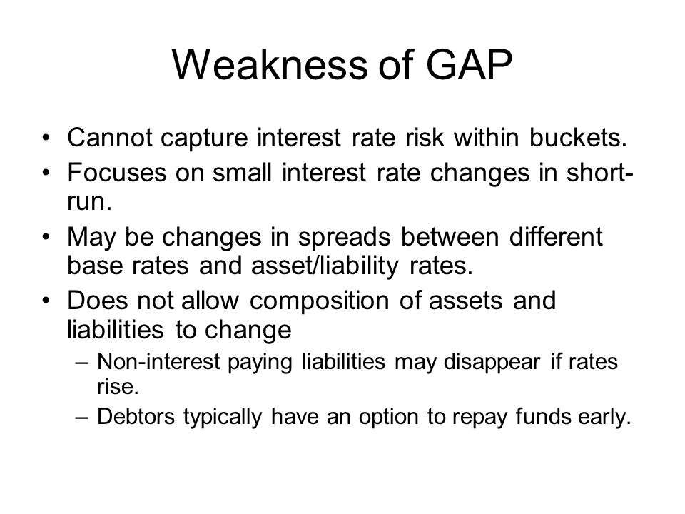 Weakness of GAP Cannot capture interest rate risk within buckets.