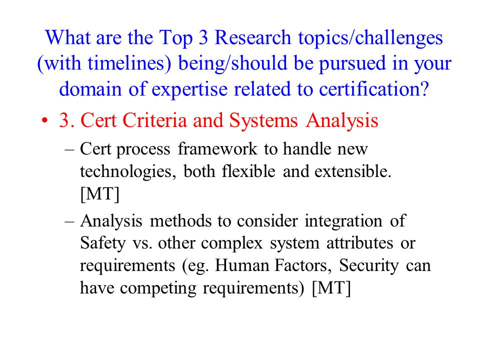 3. Cert Criteria and Systems Analysis