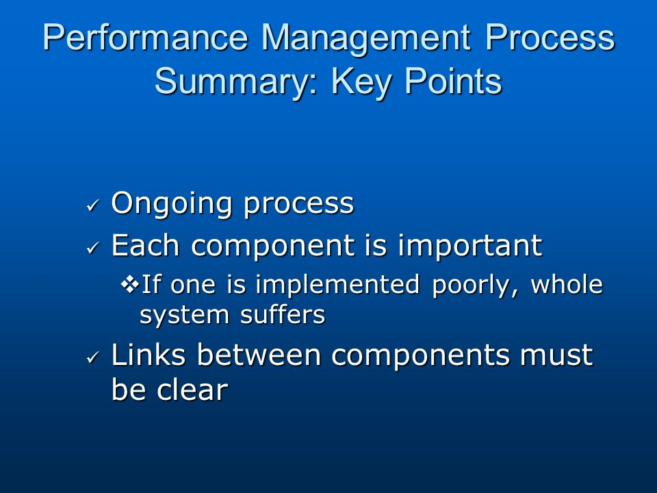 Performance Management Process Summary: Key Points