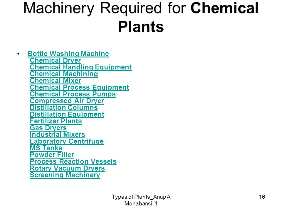 Machinery Required for Chemical Plants