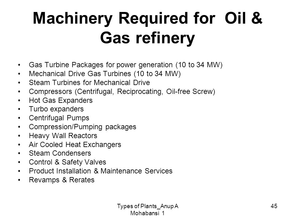 Machinery Required for Oil & Gas refinery